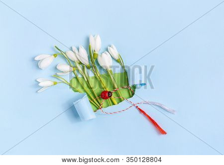 Spring Greeting Card Made From Blue Torn Paper With Snowdrops (galanthus Nivalis) Flowers. 8 March,