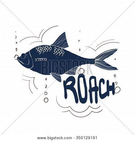 Fishing Logo. Roach. Fishing Vector Illustration. Isolated On White.