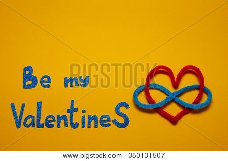 Valentines Day Concept, Polyamory Symbol, Red Heart, Sign Of Infinity On A Yellow Background. Flat L