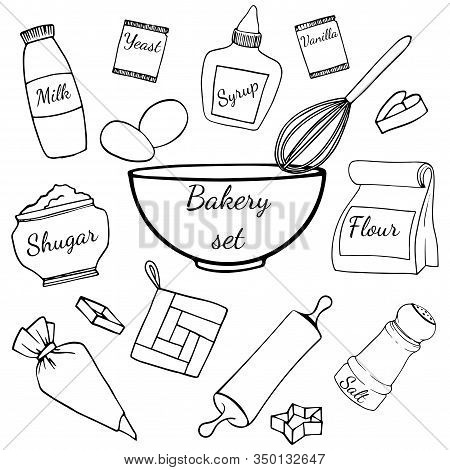 Set Of Baking Ingredients And Kitchen Utencil For Baker's. Different Bakeware Hand Drawn Illustratio