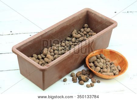 Flower Box With Drainage Pebbles. Drainage On The Bottom. Growing Plants In Pots At Home. Expanded C