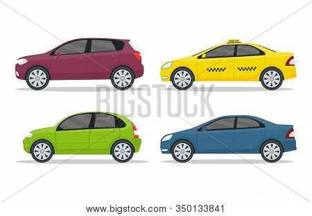 Set Of Cars On Isolated Background. Flat Auto In Side View. Design Road Vehicle Of Hatchback, Sedan,
