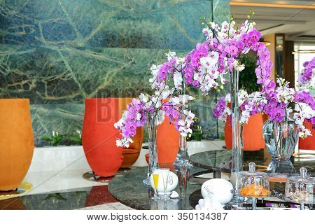 The Lobby Decoration With Fresh Flowers In Luxury Hotel, Antalya