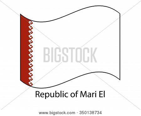 Mari El Republic National Flag On White Background Texture. Illustration, Symbol Federal Subject Of