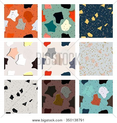 Bright Collection With Seamless Pattern Terrazzo Trendy Granite Fragments Creative Backdrop. Chaotic