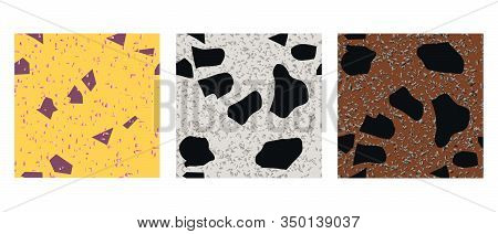 Cards With Seamless Pattern Terrazzo Trendy Granite Fragments Creative Backdrop. Chaotic Stone Piece