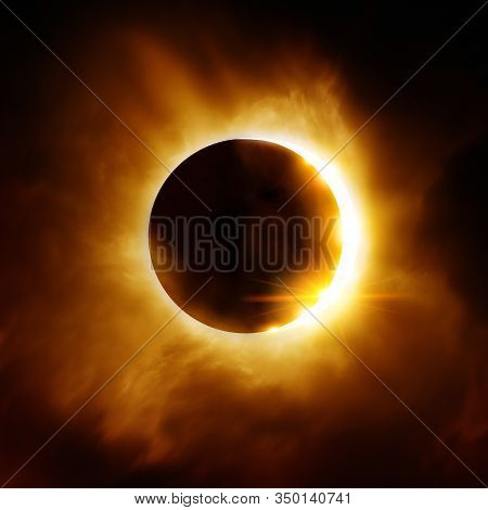The Moon Moving Infront Of The Sun Creating A Total Solar Eclipse. Ilustration.