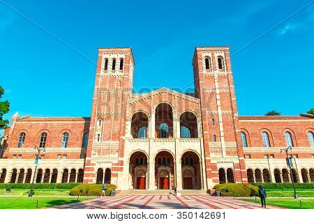 Los Angeles/usa- 02.02.2020 :  Ucla University Of California At Los Angeles Campus Building Red Bric