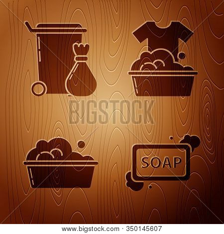 Set Bar Of Soap With Foam , Trash Can , Plastic Basin With Soap Suds And Plastic Basin With Soap Sud