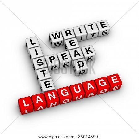 Basic language skills. Read, Write, Speak, Listen. 3D cubes crossword puzzle on white background.