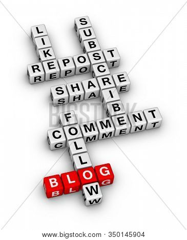 Social Media Feedback Activity Word Cloud. 3D cubes crossword puzzle on white background.