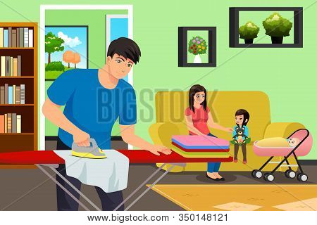 A Vector Illustration Of Father Ironing Clothes While Mother And Kids In The Living Room