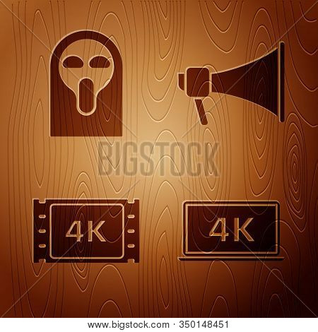 Set Laptop Screen With 4k Video Technology , Funny And Scary Ghost Mask, 4k Movie, Tape, Frame And M