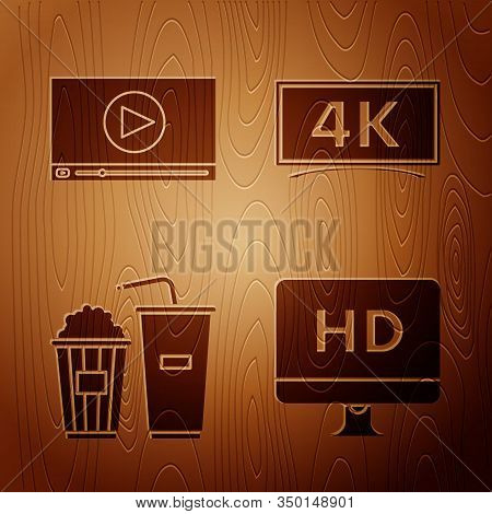 Set Computer Pc Monitor With Hd Video Technology , Online Play Video , Popcorn And Soda Drink Glass