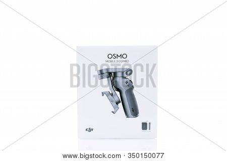 Den Haag, The Netherlands - January 10 2020: New Box With Osmo Mobile 3 Combo Package Smartphone Vid