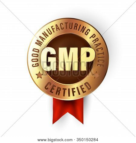 Good Manufacturing Practice Stamp. Gmp Certified Badge Created In Luxury Gold Style.