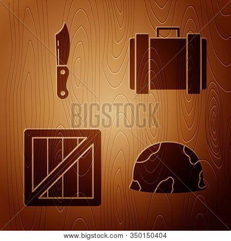 Set Military Helmet , Military Knife , Military Ammunition Box And Military Ammunition Box On Wooden