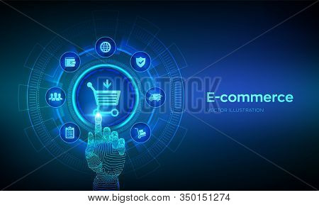 E-commerce. Internet Shopping. Online Purchase. Business, Internet And Technology Concept Ov Virtual