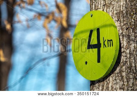 A Trail Marker Nailed To A Tree Shows A Distance Of 4 Kilometers Traveled Along A Nature Trail. The