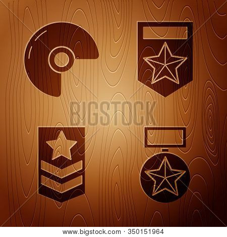 Set Military Reward Medal , Military Helmet , Chevron And Chevron On Wooden Background. Vector