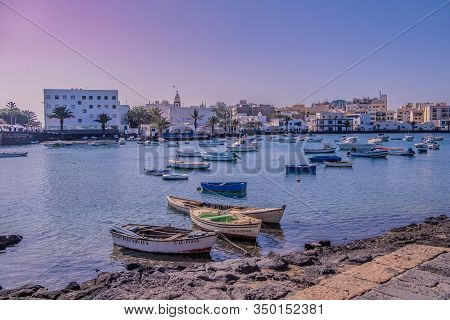 Arrecife, Lanzarote - December 27, 2019: The Small Harbor Of Arrecife Called - El Charco De San Gine