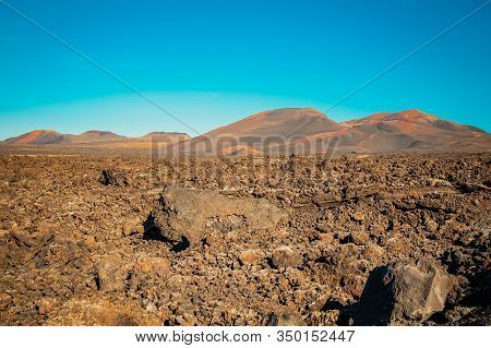 Volcanic Rocks Of Timanfaya National Park In Lanzarote, Canary Islands