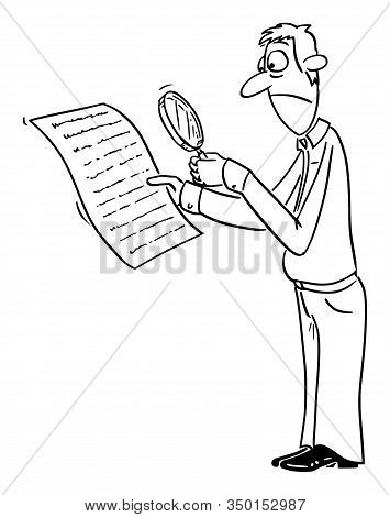 Vector Funny Comic Cartoon Drawing Of Upset Man Or Businessman Reading Contract Or Document, With Ma
