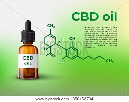 Cbd Oil Bottle Infographic Illsutration With Cbd Molecule And Place For Your Text
