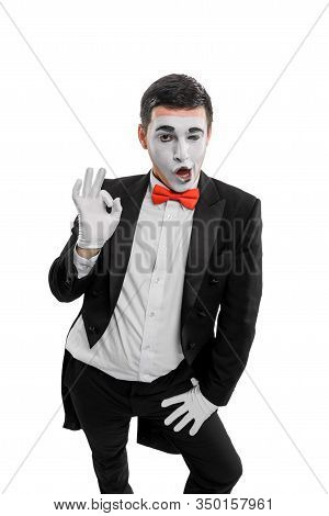 Male Mime Showing Alright Sign. Vertical Portrait Of A Man
