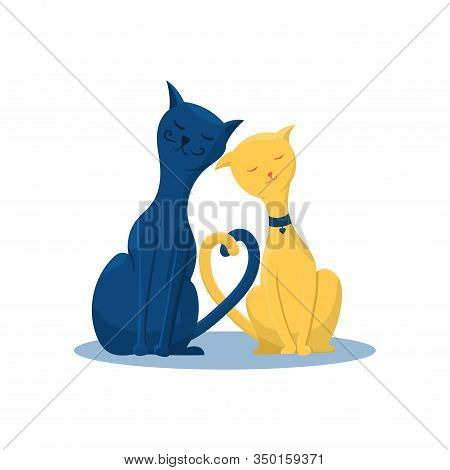 A Couple Of Cute Cats In Love Flat Vector Illustration In Trendy Colors