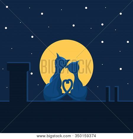 A Couple Of Cute Cats In Love Are Sitting On The Roof, Against The Background Of The Night Sky. Flat