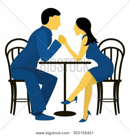 A Couple Of Cute Lovers At A Table In A Cafe. Flat Vector Illustration In Trendy Colors