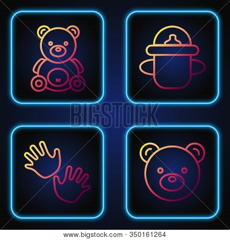 Set Line Teddy Bear Plush Toy, Baby Hands Print, Teddy Bear Plush Toy And Baby Bottle. Gradient Colo