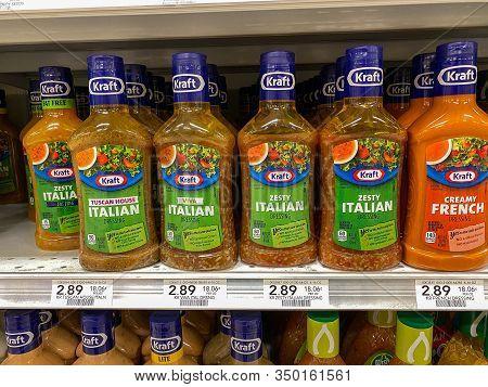 Orlando,fl/usa -2/8/20:the Kraft Salad Dressing Display Of A Publix Grocery Store.  Kraft Salad Dres