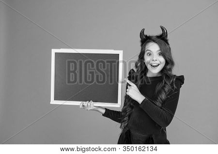 Halloween Party. Remember The Ghoul Times. Little Girl Cute Horns Halloween Advertisement. Child Imp