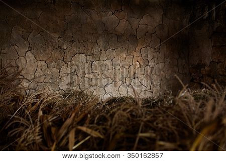 Retro Vintage Background. Old Cracked Clay Wall.