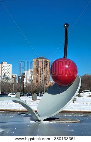MINNEAPOLIS-MINNESOTA, APRIL 7, 2018: Spoonbridge and the cherry in the sculpture garden in Minneapolis in Minnesota