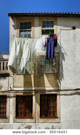 Drying clothes on house window