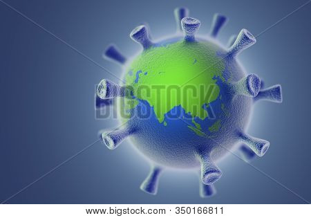 The Spread Of The Virus On The Planet. Collage From 3d Virus And 3d Globe. Corona Virus Concept.