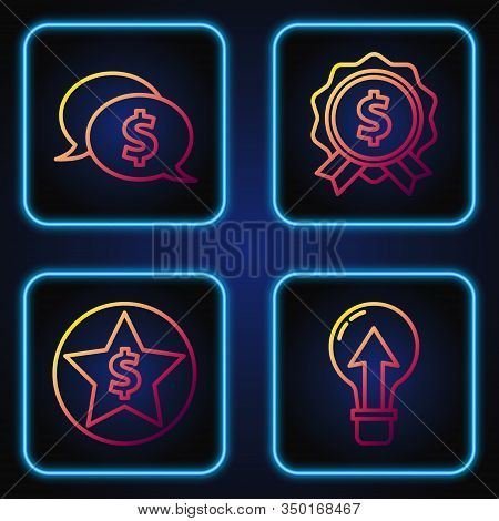 Set Line Light Bulb, Star And Dollar, Speech Bubble With Dollar And Price Tag With Dollar. Gradient