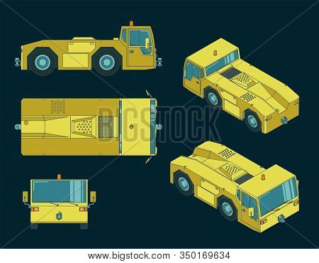 Airport Tow Tractor Illustrations