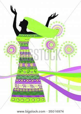 Woman In Dress With Patterns For Design