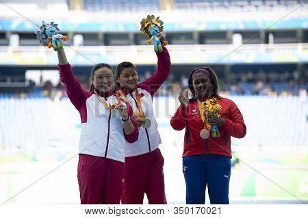 Rio, Brazil - September 11, 2016: Yao Juan Chn (gold), Yang Yue (silver) And De La Heras Chibas Nora
