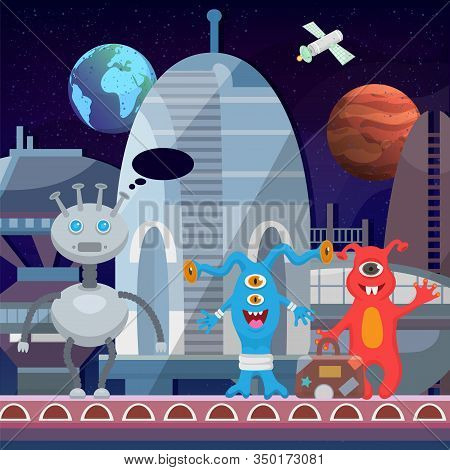 Aliens Cartoon Happy Monsters At Cosmoport Launch Departure Of Spaceship Vector Illustration. Cute M