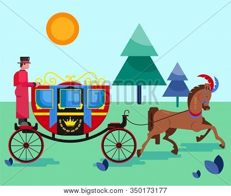 Horse Old Retro Carriage With Coachman In Nature Park Vector Illustration Flat Style. Festive Decora