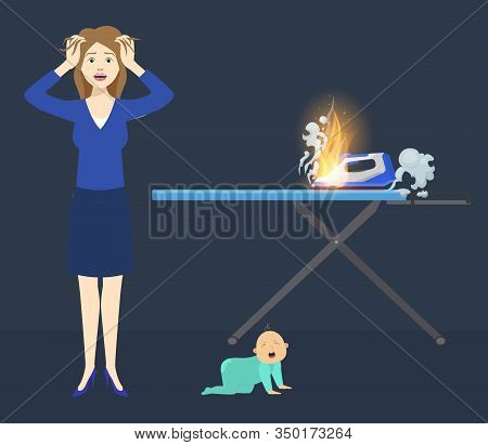 Accident Risk Of Fire Vector Illustration Flat Style. Mother And Little Baby At Home Flat Near Flame