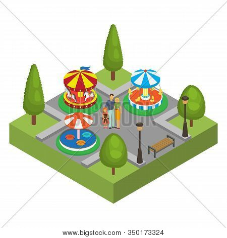 Amusement Park Isometric Vector Illustration Isolated. Family Man, Woman And Little Daughter Amuseme