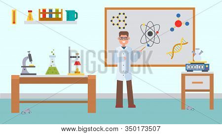 Chemistry Lesson In Classroom Vector Illustration. Male Teacher Explains At The Blackboard. School C