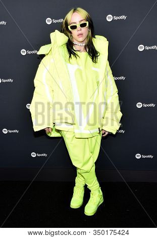 LOS ANGELES - JAN 23:  Billie Eilish arrives for the Spotify Best New Artist 2020 Party on January 23, 2020 in Los Angeles, CA