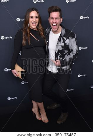 LOS ANGELES - JAN 23:  Andy Grammer and Aijia Lise arrives for the Spotify Best New Artist 2020 Party on January 23, 2020 in Los Angeles, CA